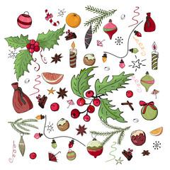 New Year's set of Christmas toys, sweets, oranges, fir, mistletoe.