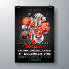 New Year Party Celebration Poster Template illustration with 3d 2019 Number and Christmas Ball on Black Background. Vector Holiday Premium Invitation Flyer or Promo Banner.