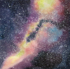 Handdrawn watercolor galaxy, stars in the night space. Beautiful Milky Way.