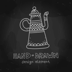 Vector arab coffee pot. Antique arabian teapot. Hand drawn chalkboard mockup for restaurant menu, cafeteria advertising stylized drawing with chalk on blackboard.
