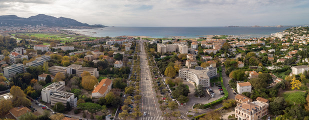 Marseille city, Aerial view of downtown and south districts - France