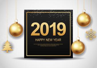 Happy New Year 2019.vector illustration