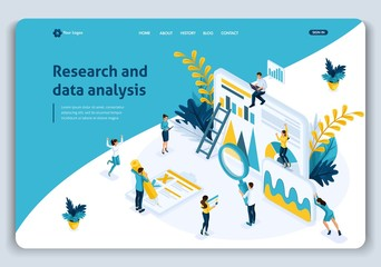 Website Template Landing page Isometric concept Business analysis, best statistical tools in research and data analysis. Easy to edit and customize