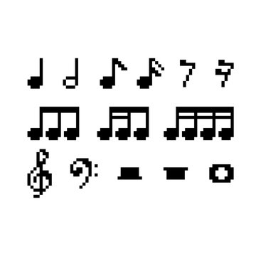 Set of pixel Musical notes - isolated vector illustration