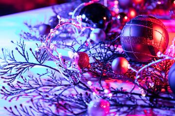 Christmas balls New Year Christmas abstract bokeh lights background