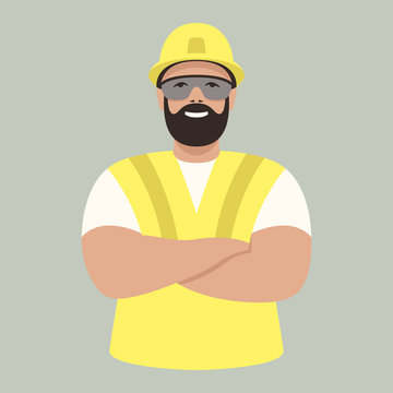 worker in helmet ,vector illustration , flat style
