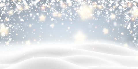 Grey blurred poster with winter landscape and snow for seasonal, Christmas and New Year decoration.