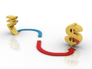 3d rendering Dollar symbol balance indian rupee