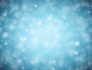 Blue background with snow for winter, Christmas and New Year design.
