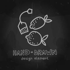 Vector lemon and teabag. Fruit tea illustration. Hand drawn chalkboard mockup design element for packaging, advertising, menu, cafeteria, shop.