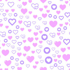 Seamless vector EPS 10 pattern with hearts. Love romantic and Valentine Day