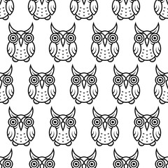 black and white Owl Simple Monochrome Linear Symbol Logo Line Art Seamless pattern