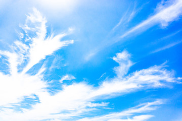 Light blue sky with streak white cloud,Season summer.