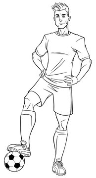 Full length illustration of a determined and skilled football player posing confident with the soccer ball against white background for copy space.