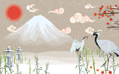 Japanese cranes winter on sunset