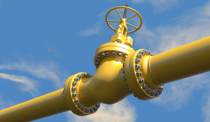 3D illustration of  oil/gas pipeline valves with a bright blue partially overcast sky background.