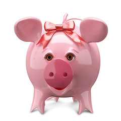 3D Illustration Pink Pig with a Bow