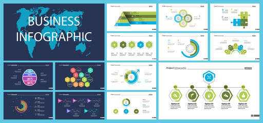 Project infographic design template set for stock and trade concept. Can be used for business project, annual report, web design. Option, process, line graphs, cycle chart, scatter plot, flowchart