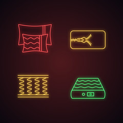 Orthopedic mattress neon light icons set