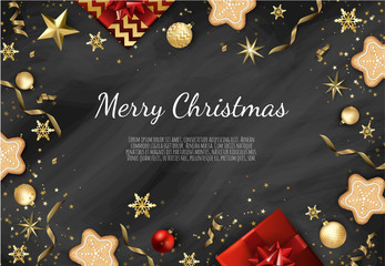 Christmas vector background. Creative design greeting card, banner, poster.