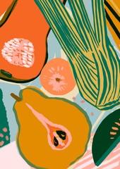 Pear Pumpkin Fennel and Apple Fresh Produce Illustration Delicious Vegetarian Food