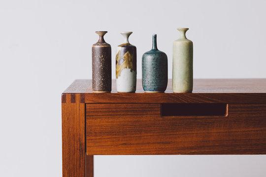 Ceramic miniatures on table