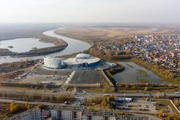 City quarters of Tyumen and aquapark. Russia