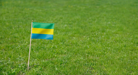 Gabon flag. Photo of Gabon flag on a green grass lawn background. Close up of national flag waving outdoors.