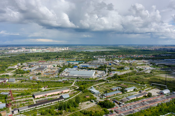 Aerial view of an Industrial Park area. Tyumen