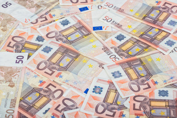Fullscreen piled up 50 euro bills