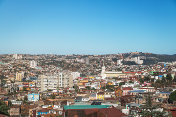 Aerial view of Valparaiso and Las Carmelitas church from Plaza Bismarck at Cerro Carcel Hill - Valparaiso, Chile