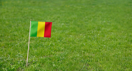 Mali flag. Photo of Mali flag on a green grass lawn background. Close up of national flag waving outdoors.