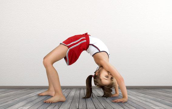 little girl doing exercises gymnastic