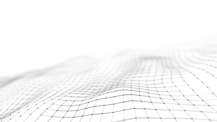 Wave of particles on white background. Abstract interlacing lines and points. Digital connection of elements. Imitation waves.