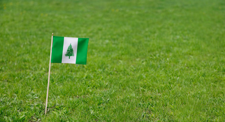 Norfolk Island flag. Photo of Norfolk Island flag on a green grass lawn background. Close up of national flag waving outdoors.