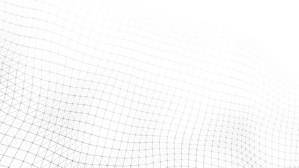 Wave of particles on white background. Abstract interlacing lines and points. Digital connection of elements. Imitation waves. Fotoväggar