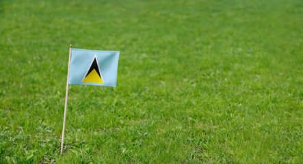 Saint Lucia flag. Photo of Saint Lucia flag on a green grass lawn background. Close up of national flag waving outdoors.