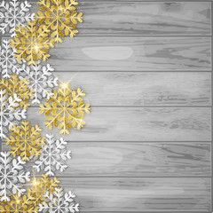 Merry Christmas decorative background, glitter snowflakes, vector illustration