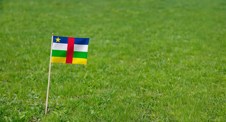 Central African Republic flag. Photo of Central African Republic flag on a green grass lawn background. Close up of national flag waving outdoors.
