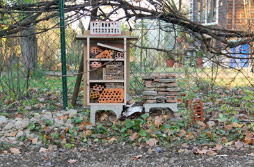 insect hotel for various bugs and invertebrates autumn