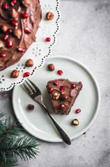Vegan Chocolate Hazelnut Cake with Chocolate Ganache
