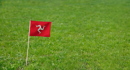 Isle of Man flag. Photo of the Isle of Man flag on a green grass lawn background. Close up of national flag waving outdoors.