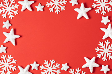 Red Background with Snowflakes in Border. Copy Space for Text