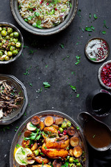 Roast Chicken Dinner with Fennel Rice, Brussels Sprouts, Baked Potato , Sautéed mushrooms - Gluten-free.
