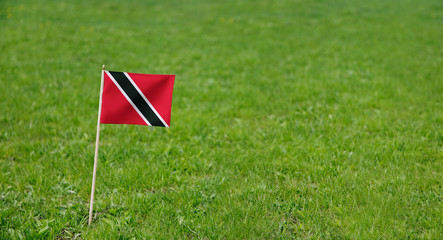 Trinidad and Tobago flag. Photo of Trinidad and Tobago flag on a green grass lawn background. Close up of national flag waving outdoors.