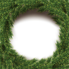 Round frame made of fir brunches isolated on white background. Vector design element.