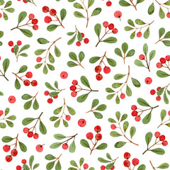 watercolor winter plants, christmas mistletoe branches. seamless pattern on a white background. fabric, wrapping gift paper, greeting card.