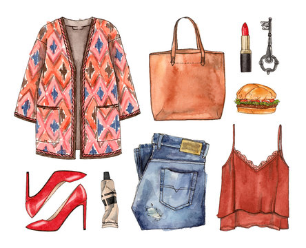 watercolor sketch casual clothes with accessories. hand painting fashion outfit illustration. set of isolated elements.