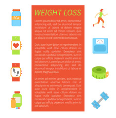Weight Loss Pedometer Poster Vector Illustration