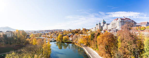 Panorama from the City of Bern, the Federal Palace, Parliament Building housing the Swiss Federal Assembly and the Federal Council, Switzerland  Wall mural